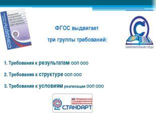 ФГОС выдвигает три группы требований: 1. Требования к результатам ООП ООО 2.
