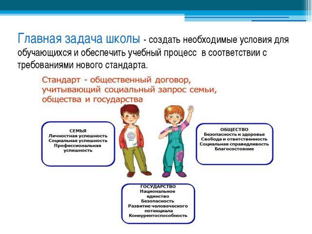 Главная задача школы - создать необходимые условия для обучающихся и обеспечи...