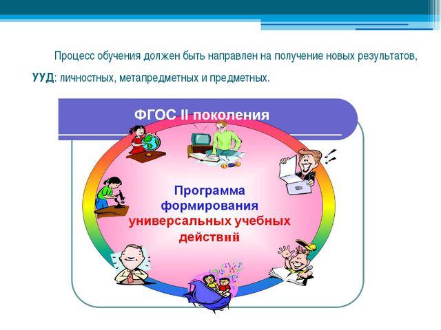 Процесс обучения должен быть направлен на получение новых результатов, УУД:...