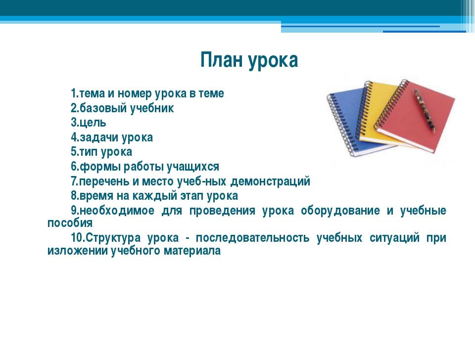 План урока тема и номер урока в теме базовый учебник цель задачи урока тип ур...