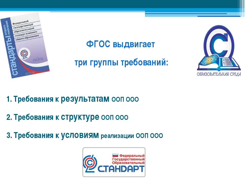 ФГОС выдвигает три группы требований: 1. Требования к результатам ООП ООО 2....