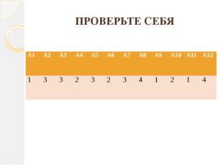 ПРОВЕРЬТЕ СЕБЯ А1 А2 А3 А4 А5 А6 А7 А8 А9 А10 А11 А12 1 3 3 2 3 2 3 4 1 2 1 4