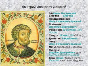 Дмитрий Иванович Донской 6-й Князь Московский1359 год—1389 год Предшественн