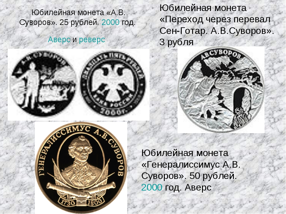 Юбилейная монета «А.В. Суворов». 25 рублей. 2000 год. Аверс и реверс Юбилейна...