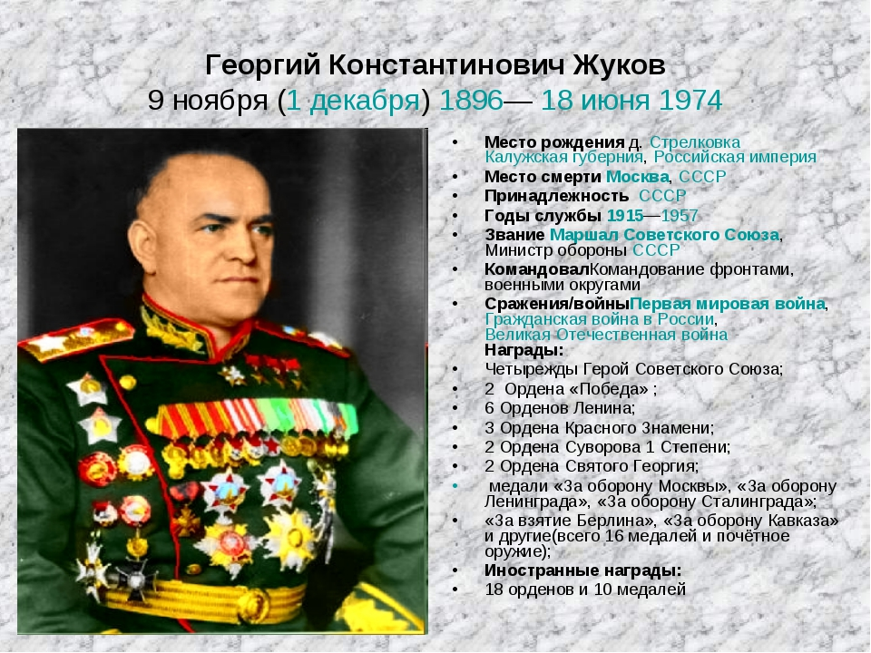 Георгий Константинович Жуков 9ноября (1декабря) 1896— 18 июня 1974 Месторо...