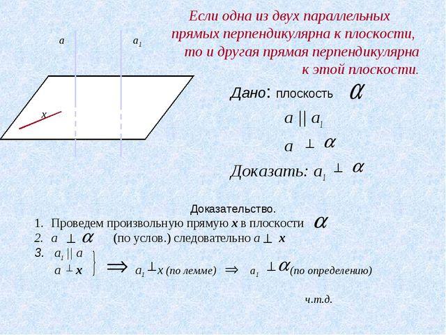 Если одна из двух параллельных прямых перпендикулярна к плоскости, то и друг...