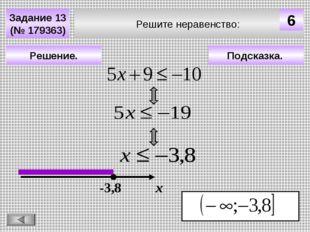 Подсказка. Решение. х -3,8 Решите неравенство: Задание 13 (№ 179363) 6