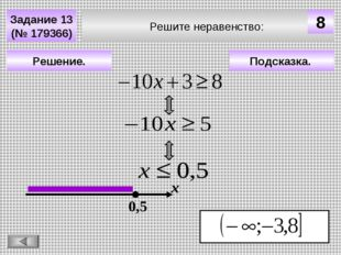Решите неравенство: Задание 13 (№ 179366) Подсказка. Решение. х 0,5 8