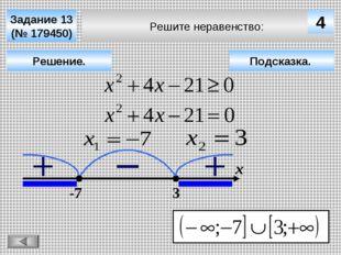 Решите неравенство: Задание 13 (№ 179450) Решение. х 4 -7 3 Подсказка.