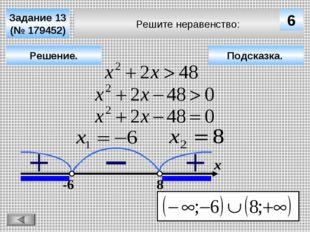 Решите неравенство: Задание 13 (№ 179452) Решение. х 6 -6 8 Подсказка.