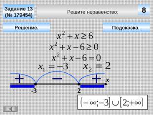 Решите неравенство: Задание 13 (№ 179454) Решение. х 8 -3 2 Подсказка.