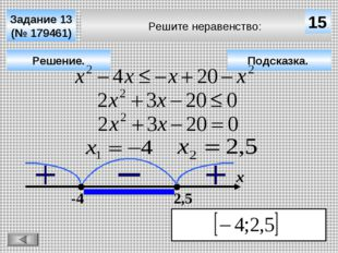 Решите неравенство: Задание 13 (№ 179461) Подсказка. Решение. х 15 -4 2,5