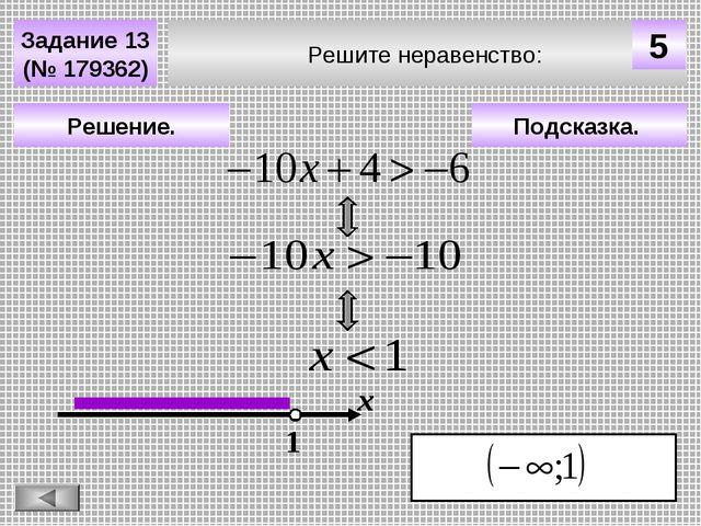 Подсказка. Решение. х 1 Решите неравенство: Задание 13 (№ 179362) 5