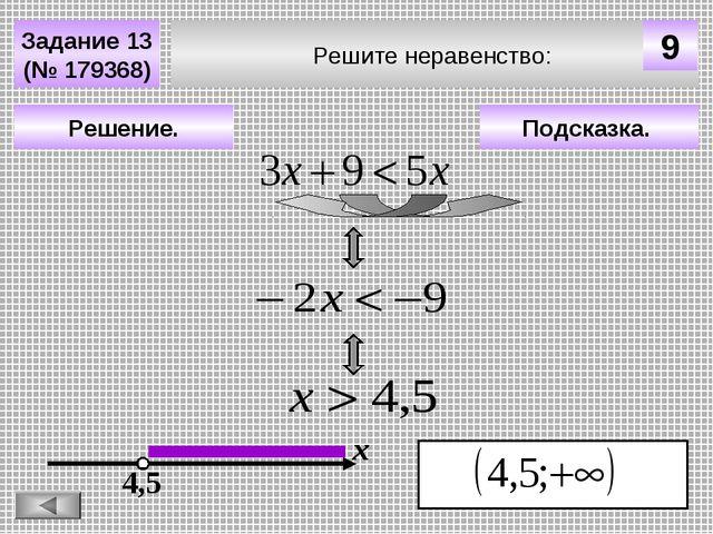 Решите неравенство: Задание 13 (№ 179368) Подсказка. Решение. х 4,5 9