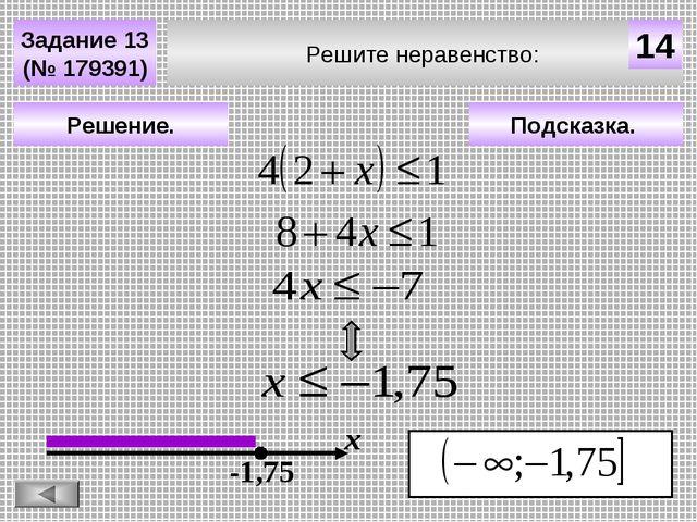 Решите неравенство: Задание 13 (№ 179391) Подсказка. Решение. х 14 -1,75