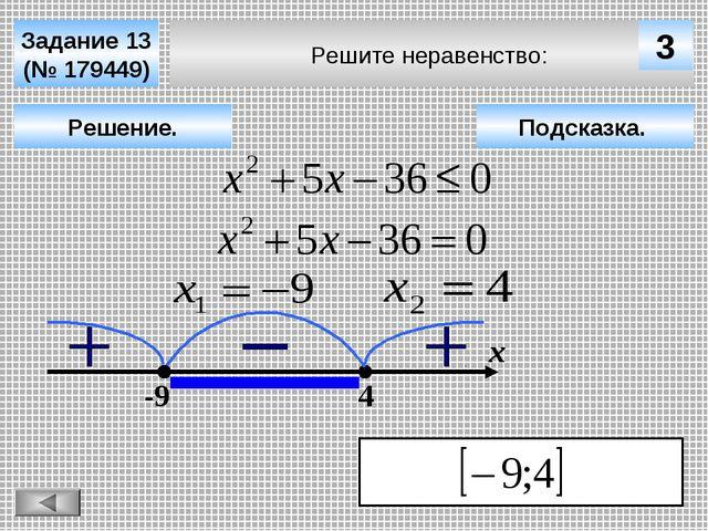 Решите неравенство: Задание 13 (№ 179449) Решение. х 3 -9 4 Подсказка.