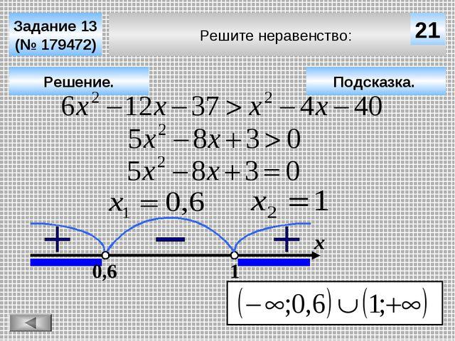 Решите неравенство: Задание 13 (№ 179472) Подсказка. Решение. х 21 0,6 1
