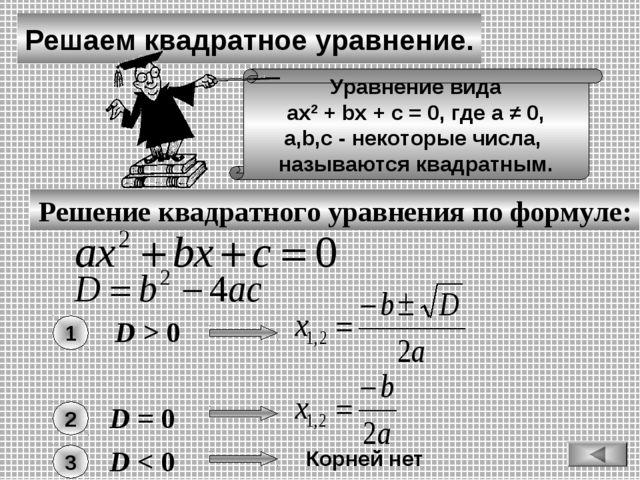 Решаем квадратное уравнение. Решение квадратного уравнения по формуле: Уравне...