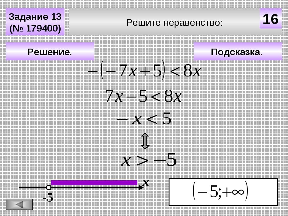 Решите неравенство: Задание 13 (№ 179400) Подсказка. Решение. х 16 -5