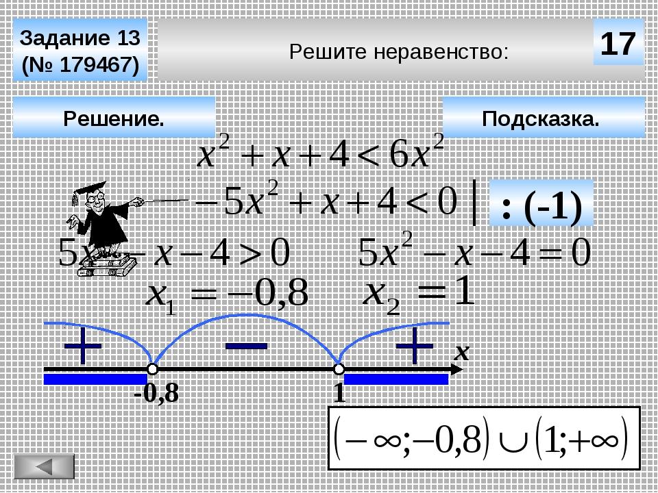 Решите неравенство: Задание 13 (№ 179467) Подсказка. Решение. х 17 -0,8 1 : (...
