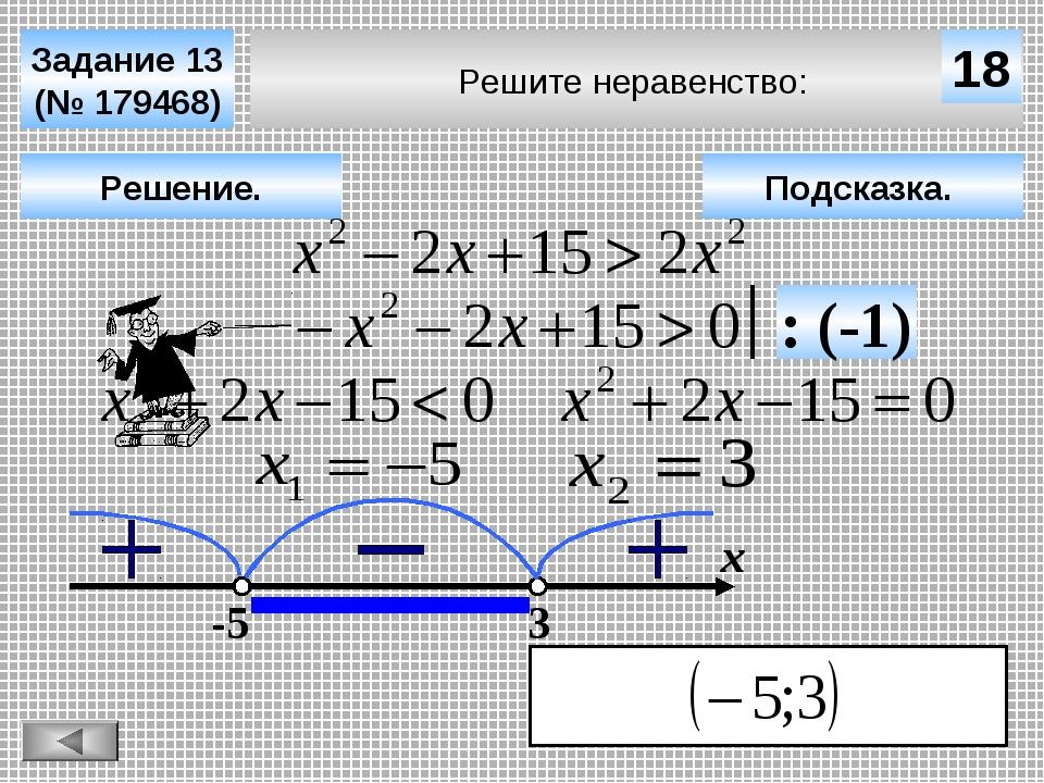 Решите неравенство: Задание 13 (№ 179468) Подсказка. Решение. х 18 -5 3 : (-1)