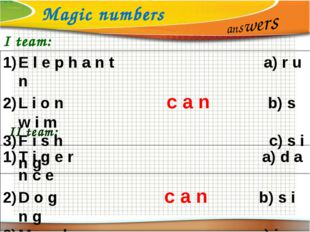 Magic numbers answers I team: E l e p h a n t a) r u n L i o n c a n b) s w i