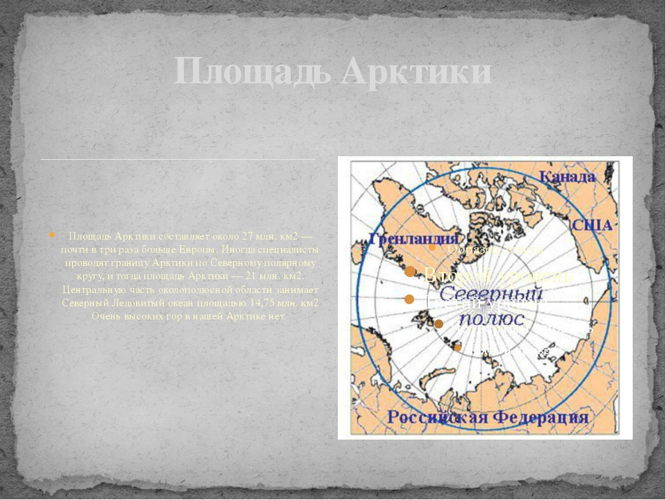 Площадь Арктики составляет около 27 млн. км2 — почти в три раза больше Европ...