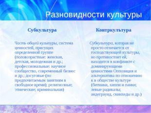 Разновидности культуры Субкультура  Контркулътура Часть общей культуры, сист