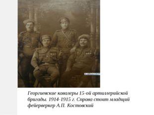 Георгиевские кавалеры 15-ой артиллерийской бригады. 1914-1915 г.Справа стоит