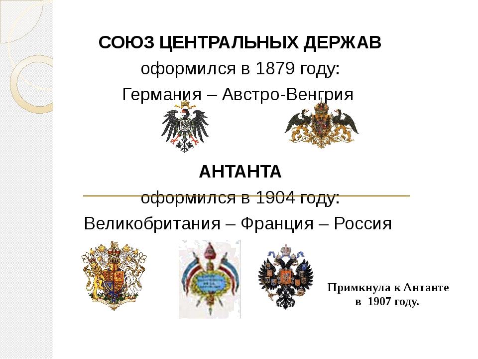 СОЮЗ ЦЕНТРАЛЬНЫХ ДЕРЖАВ оформился в 1879 году: Германия – Австро-Венгрия АНТ...