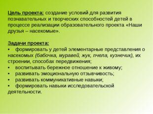 Цель проекта: создание условий для развития познавательных и творческих спос