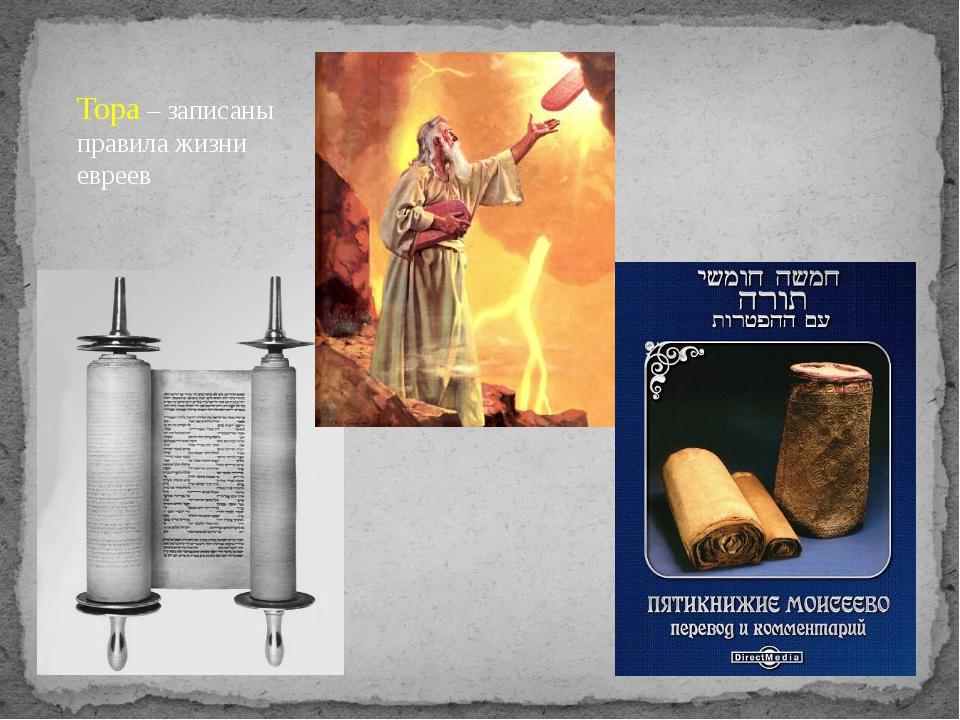 Тора – записаны правила жизни евреев