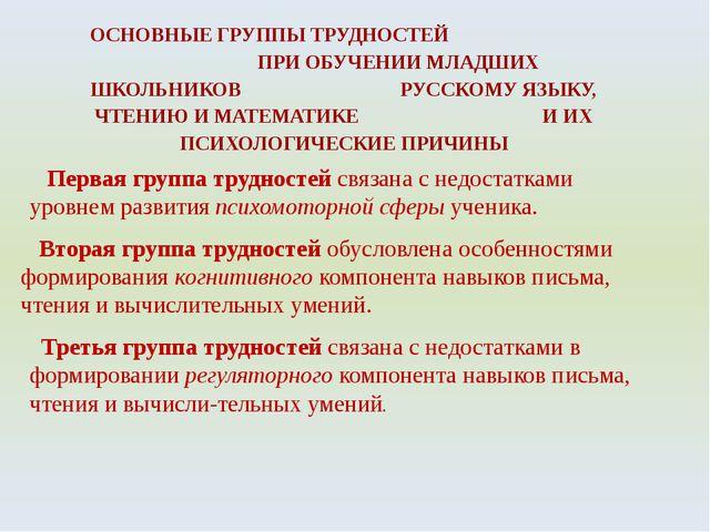 ОСНОВНЫЕ ГРУППЫ ТРУДНОСТЕЙ ПРИ ОБУЧЕНИИ МЛАДШИХ ШКОЛЬНИКОВ РУССКОМУ ЯЗЫКУ, Ч...
