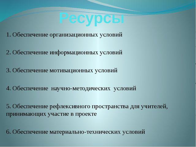 Ресурсы 1.Обеспечение организационных условий 2. Обеспечение информационных...