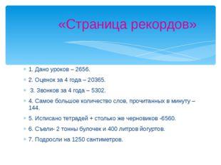 1. Дано уроков – 2656. 2. Оценок за 4 года – 20365. 3. Звонков за 4 года – 53