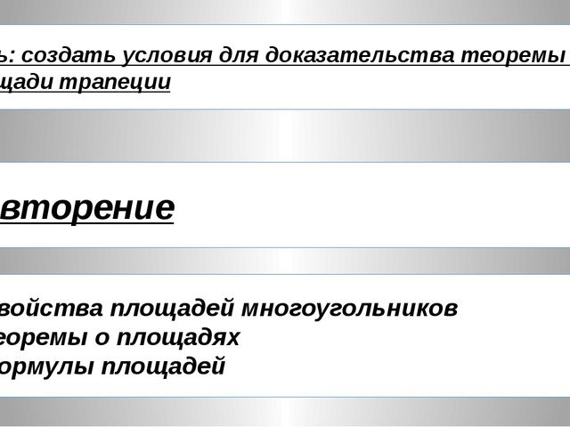 Повторение Свойства площадей многоугольников Теоремы о площадях Формулы площа...