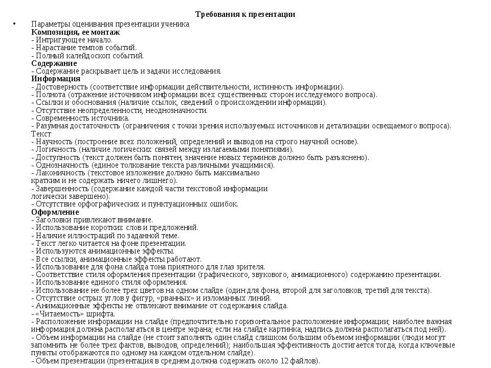 Требования к презентации Параметры оценивания презентации ученика Композиция,...