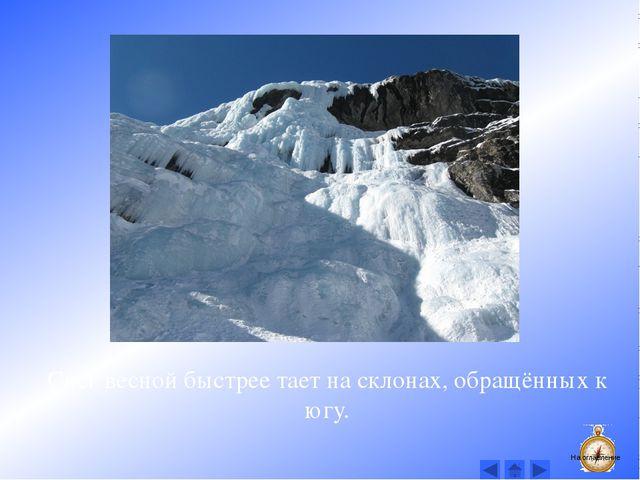 Снег весной быстрее тает на склонах, обращённых к югу. На оглавление