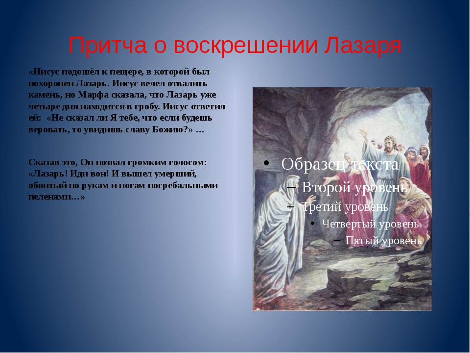 Притча о воскрешении Лазаря «Иисус подошёл к пещере, в которой был похоронен...