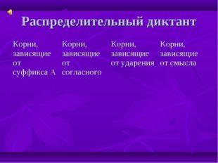Распределительный диктант Корни, зависящие от суффикса АКорни, зависящие от