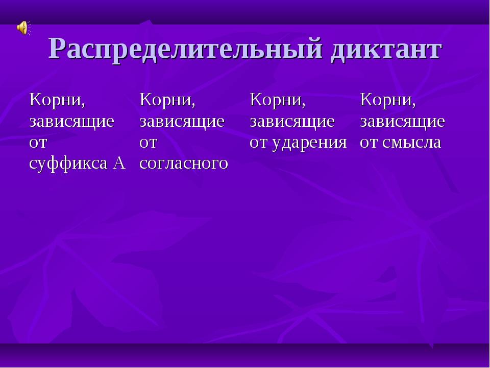 Распределительный диктант Корни, зависящие от суффикса АКорни, зависящие от...