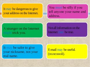 It may be dangerous to give your address on the Internet. A stranger on the I