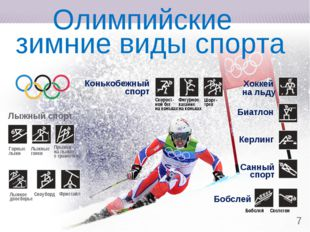 * Олимпийские зимние виды спорта Горные лыжи Лыжные гонки Прыжки на лыжах с т
