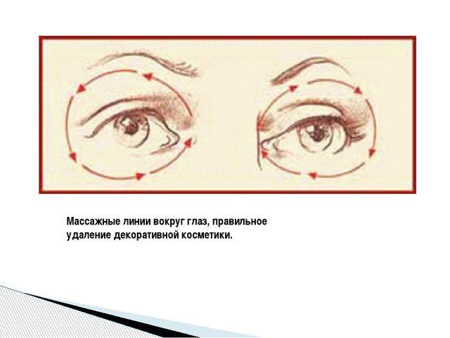 Массажные линии вокруг глаз, правильное удаление декоративной косметики.