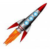 Запуск ракеты на белом фоне - векторные иллюстрации. Клипарты, векторы, и Набор Иллюстраций Без Оплаты Отчислений. Image 1094612