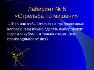 Лабиринт № 5 «Стрельба по мишени» «Шар или куб» Отвечая на предложенные вопро