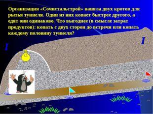 I I Организация «Сочистальстрой» наняла двух кротов для рытья туннеля. Один и