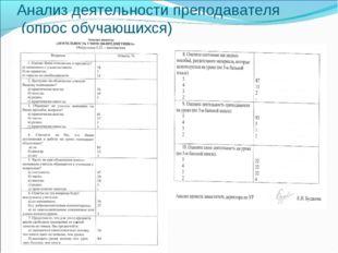 Анализ деятельности преподавателя (опрос обучающихся)