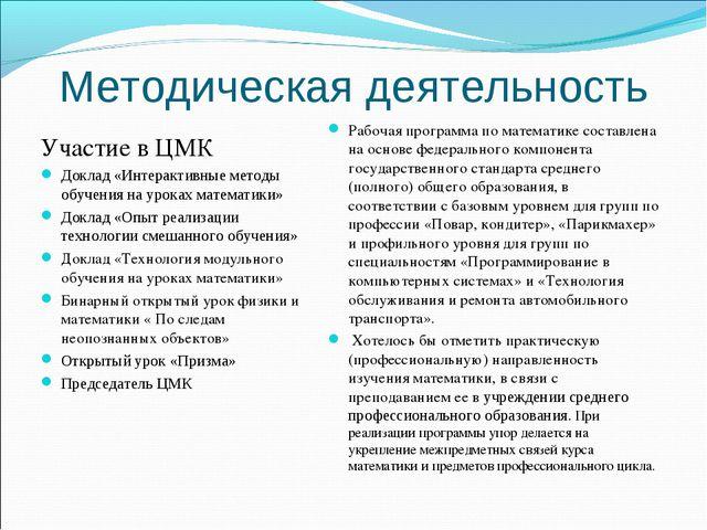 Методическая деятельность Участие в ЦМК Доклад «Интерактивные методы обучения...
