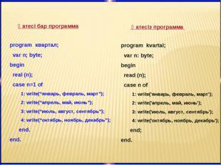 Қатесі бар программа Қатесіз программа program квартал; var n; byte; begin re